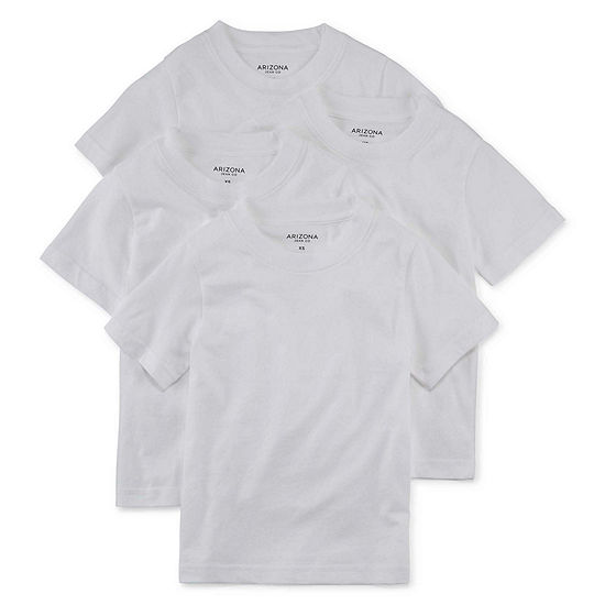 Arizona Little & Big Boys 4 Pack Crew Neck Short Sleeve T-Shirt
