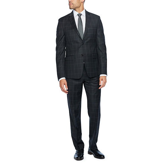 Collectioni by Michael Strahan Gray Windowpane Slim Fit Suit Separates