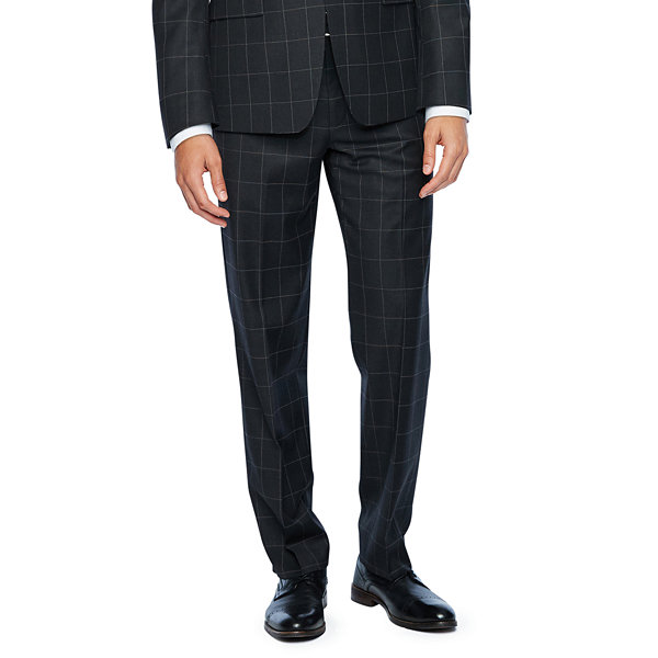 Collection by Michael Strahan  Gray Windowpane Slim Fit Stretch Suit Jacket
