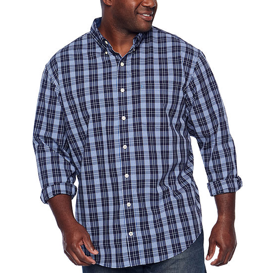 Izod Premium Essential Wovens Mens Long Sleeve Plaid Button Front Shirt Big And Tall