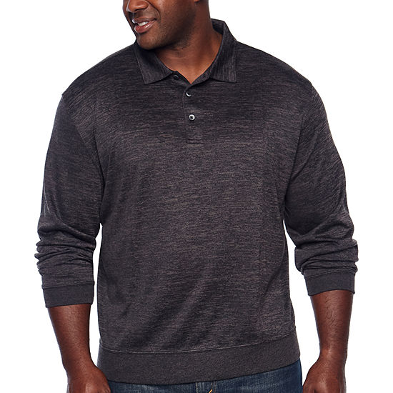 Van Heusen Flex Banded Bottom Easy Care Long Sleeve Tonal Melange Polo Shirt Big And Tall