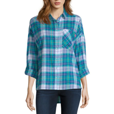 U.S. Polo Assn. 3/4 Sleeve Collar Neck Flannel Shirt-Juniors