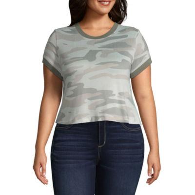 Arizona Long Sleeve Crew Neck Camouflage T-Shirt-Womens Juniors Plus