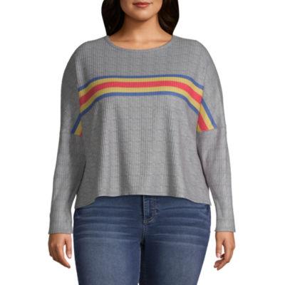 Arizona-Womens Crew Neck Long Sleeve T-Shirt Juniors