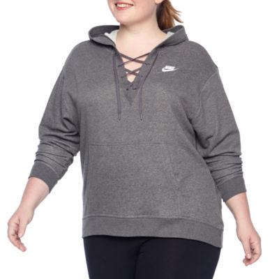 Nike®  Womens Fleece Lace Up Hoodie – Plus