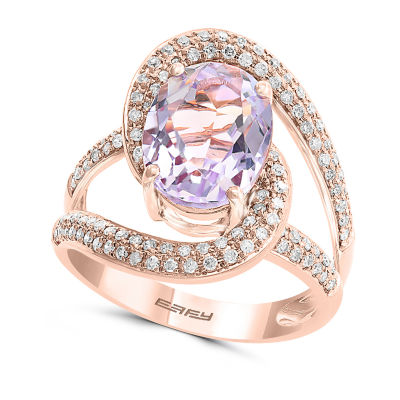 Effy Final Call ½ CT. T.W. Diamond & Genuine Pink Quartz Ring In 14K Rose Gold