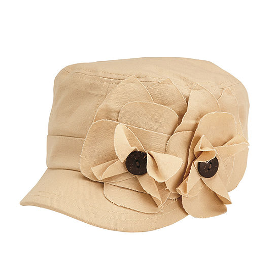 Womens Cadet Cap with 2 Raw Edge Flowers
