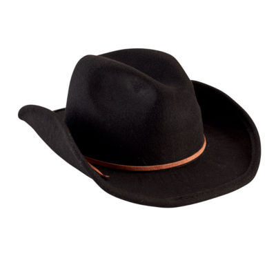 Faux Wool Cowboy Hat with Trim