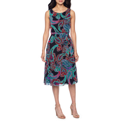 R & K Originals Sleeveless Paisley Fit & Flare Dress