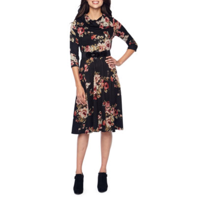 Robbie Bee 3/4 Sleeve Floral Fit & Flare Dress