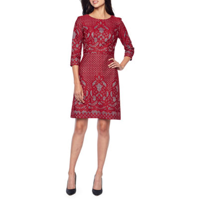 Danny & Nicole 3/4 Sleeve Lace Floral Sheath Dress