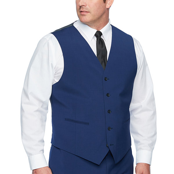 Claiborne Blue Solid Classic Fit Suit Vest - Big and Tall