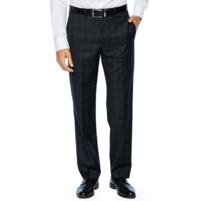 Collection by Michael Strahan  Gray Windowpane Slim Fit Stretch Suit Pants