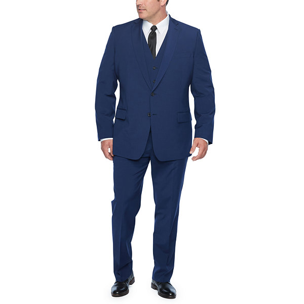 Claiborne Blue Solid Classic Fit Stretch Suit Jacket-Big and Tall