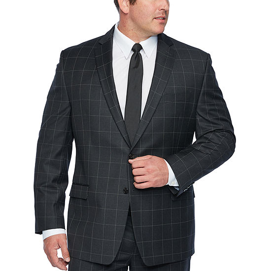 Collection By Michael Strahan Gray Windowpane Stretch Suit Jacket Big And Tall