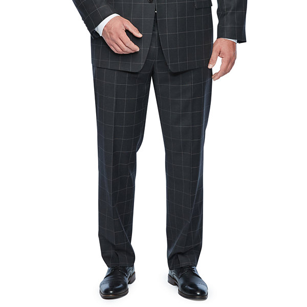 Collection by Michael Strahan  Gray Windowpane Stretch Suit Jacket-Big and Tall
