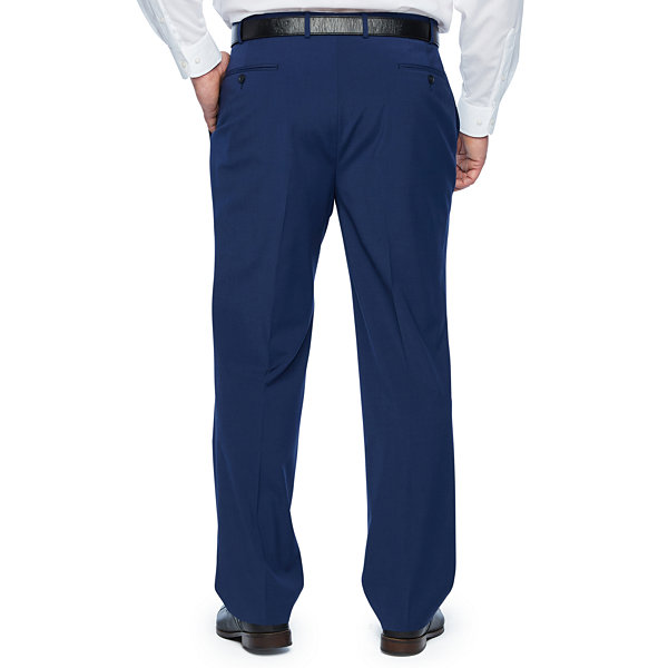 Claiborne Blue Solid Classic Fit Stretch Suit Pants - Big and Tall