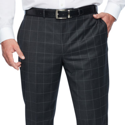 Collection by Michael Strahan  Gray Windowpane Classic Fit Stretch Suit Pants - Big and Tall