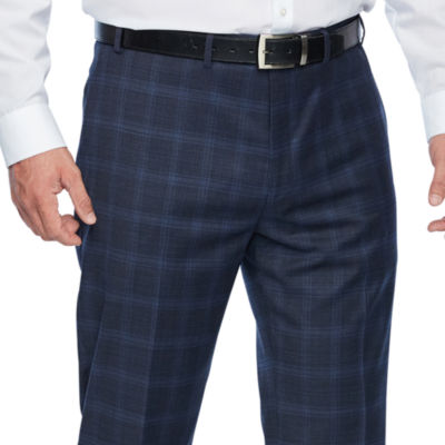 Collection by Michael Strahan  - Big and Tall Blue Plaid Classic Fit Stretch Suit Pants