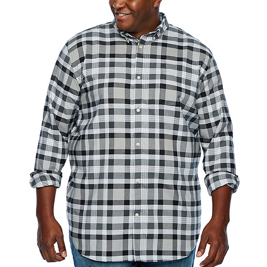 The Foundry Big & Tall Supply Co. Mens Long Sleeve Plaid Button-Front Shirt Big and Tall