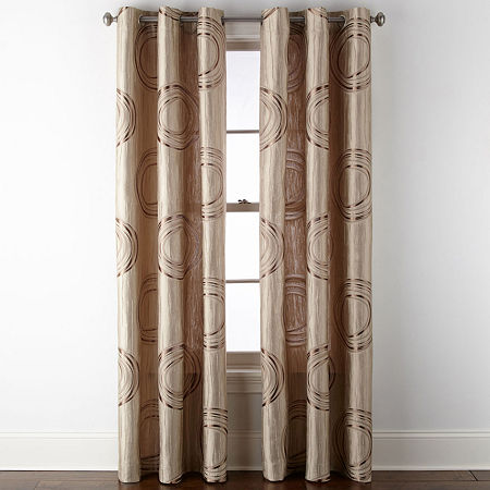 JCPenney Home Focus Light-Filtering Grommet-Top Single Curtain Panel, One Size , Brown