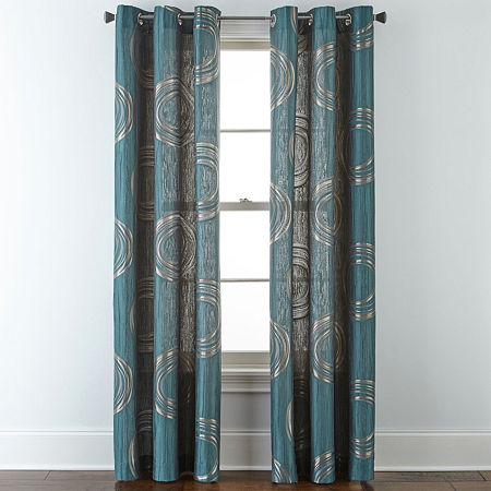 JCPenney Home Focus Light-Filtering Grommet-Top Single Curtain Panel, One Size , Blue