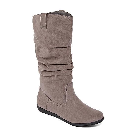 Arizona Womens Kerri Wide Calf Slouch Boots Flat Heel Pull-on