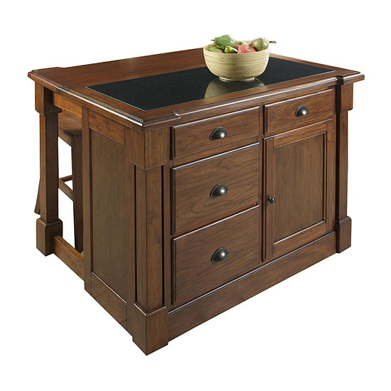 Home Styles Wood-Top Kitchen Island Set