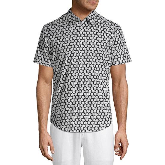 Cubavera Mens Short Sleeve Geometric Button-Front Shirt