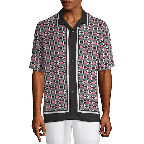 Cubavera Mens Short Sleeve Panel Button-Down Shirt