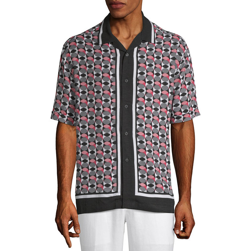 1960s Men's Clothing Cubavera Mens Short Sleeve Panel Button-Front Shirt $42.00 AT vintagedancer.com