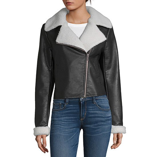 Sunset And Sixth Faux Leather Lightweight Motorcycle Jacket-Juniors