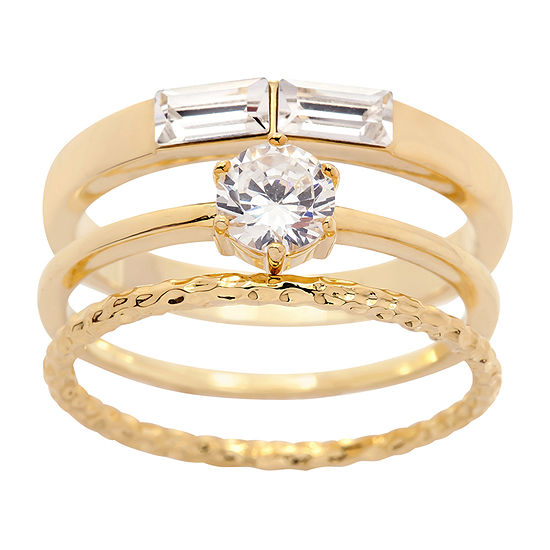 Sparkle Allure 3-pc. Cubic Zirconia Round Stackable Ring