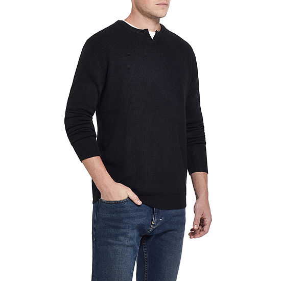 American Threads Soft Touch Split Crew Neck Long Sleeve Knit Pullover Sweater