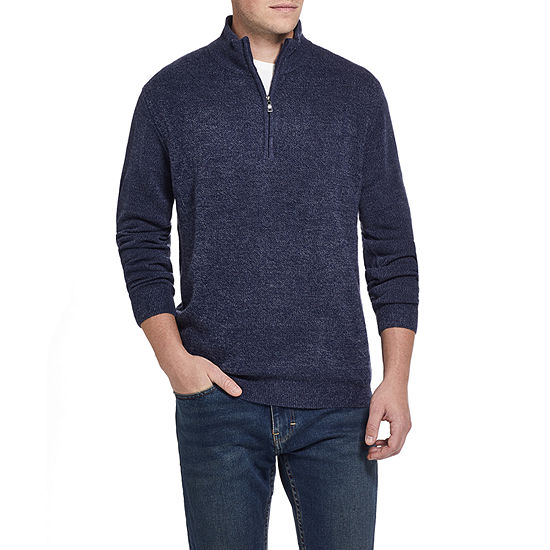 American Threads Soft Touch Quarter Zip Mock Neck Long Sleeve Knit Pullover Sweater