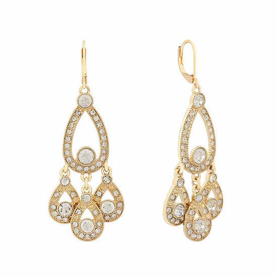 Monet Jewelry White Pear Chandelier Earrings