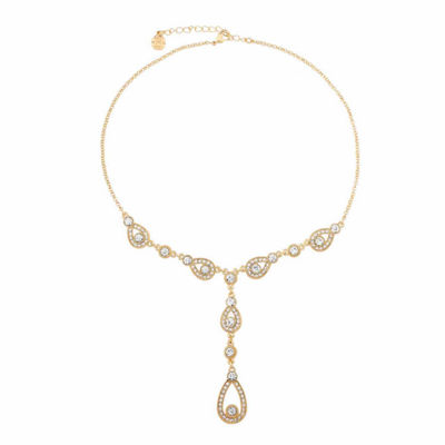 Monet Jewelry Womens Clear Pear Y Necklace