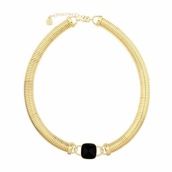 Monet Jewelry Womens Black And Goldtone Omega Collar Necklace