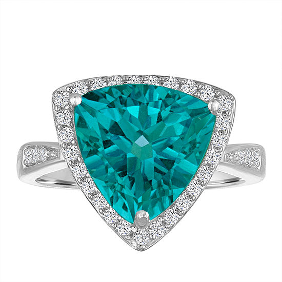 Womens Genuine Blue Topaz Cocktail Ring