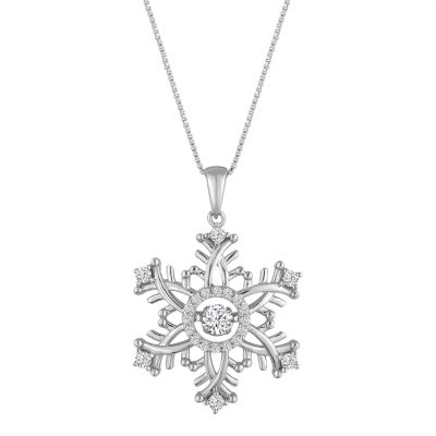 Love in Motion Womens White Sapphire Sterling Silver Pendant Necklace