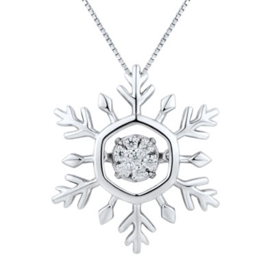 1/10 CT. T.W. Diamond Sterling Silver Snowflake Pendant Necklace
