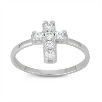 Sterling SIlver Girls Cubic Zirconia Cross Delicate Ring