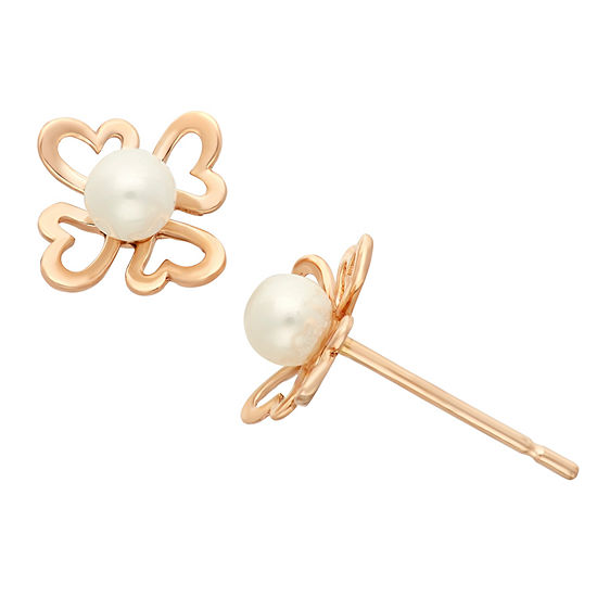 Genuine White Cultured Freshwater Pearl 14K Gold 6.8mm Heart Stud Earrings