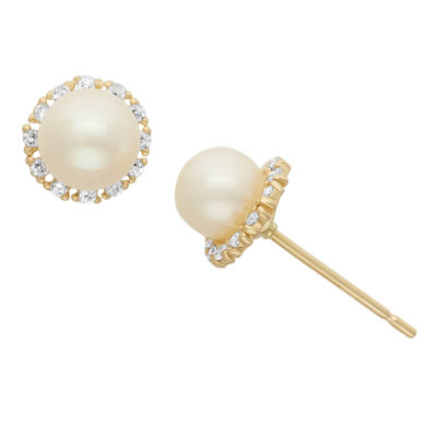 Genuine White Cultured Freshwater Pearl 14K Gold 7mm Stud Earrings