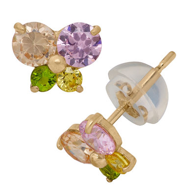 Multi Color Cubic Zirconia 14K Gold 7mm Butterfly Stud Earrings