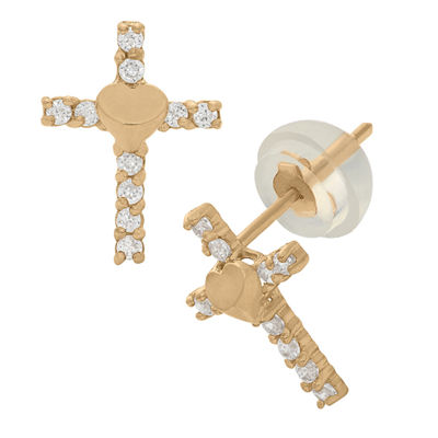 White Cubic Zirconia 14K Gold 7.5mm Cross Stud Earrings