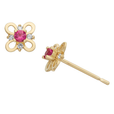 Pink Cubic Zirconia 14K Gold 5mm Flower Stud Earrings