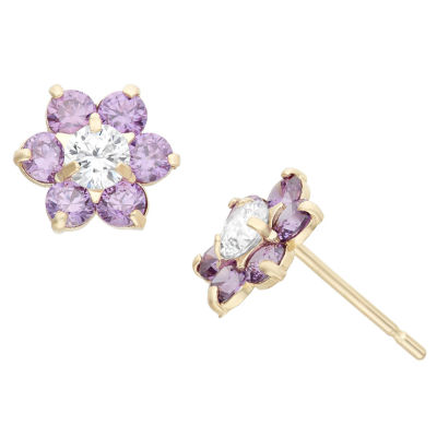 Purple Cubic Zirconia 14K Gold 7.5mm Flower Stud Earrings