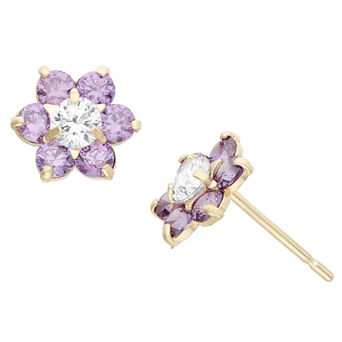 Round Purple Cubic Zirconia 14K Gold Stud Earrings