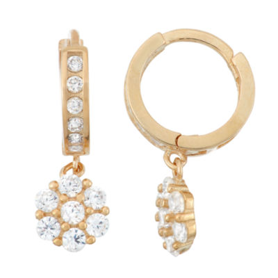 White Cubic Zirconia 14K Gold Over Silver Drop Earrings